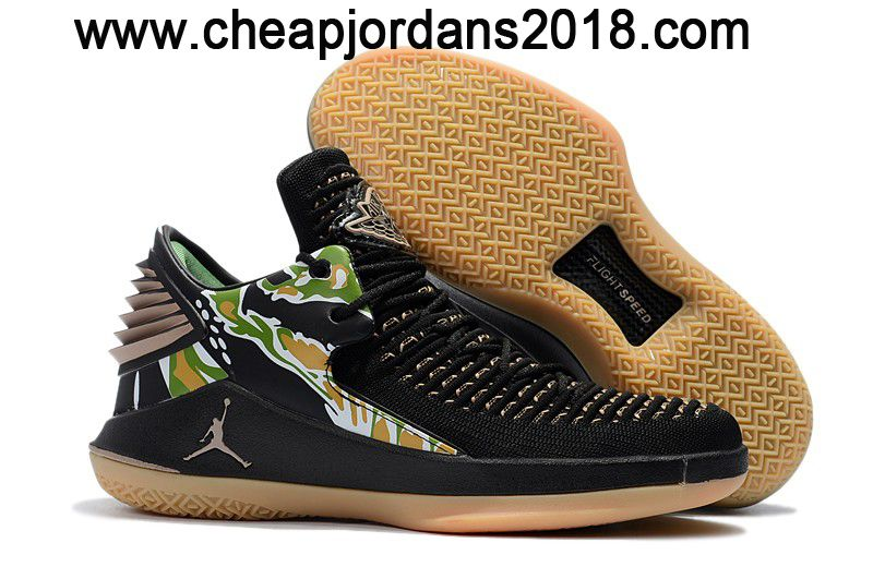 "97edac0951087a 2018 Air Jordan 32 Low ""Tiger Camo"" Black Metallic Gold-White Shoes ..."