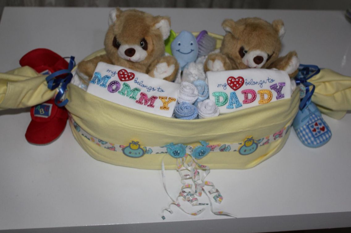 Twins theme diaper cake