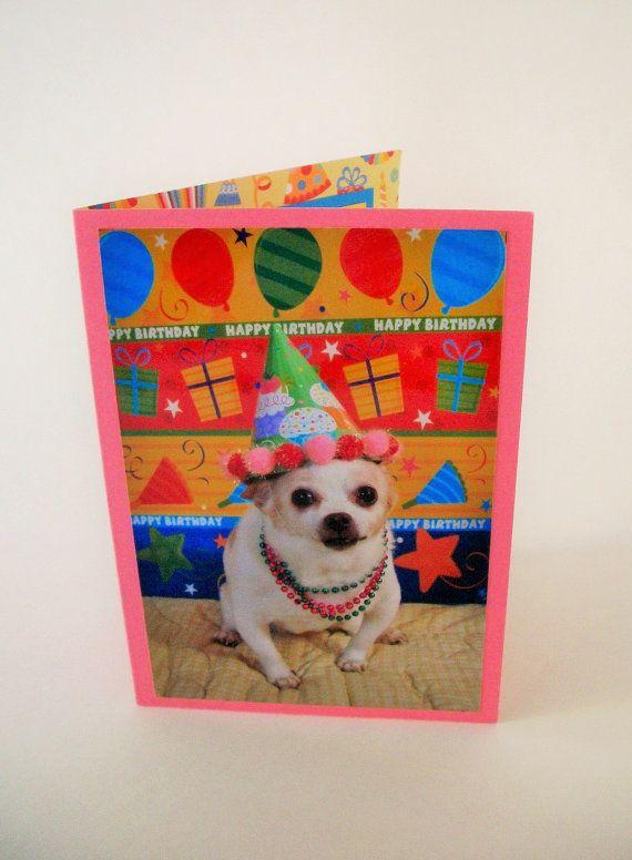 Chihuahua Birthday Card Dog Photo Birthday Card By Lillyzcardz 4