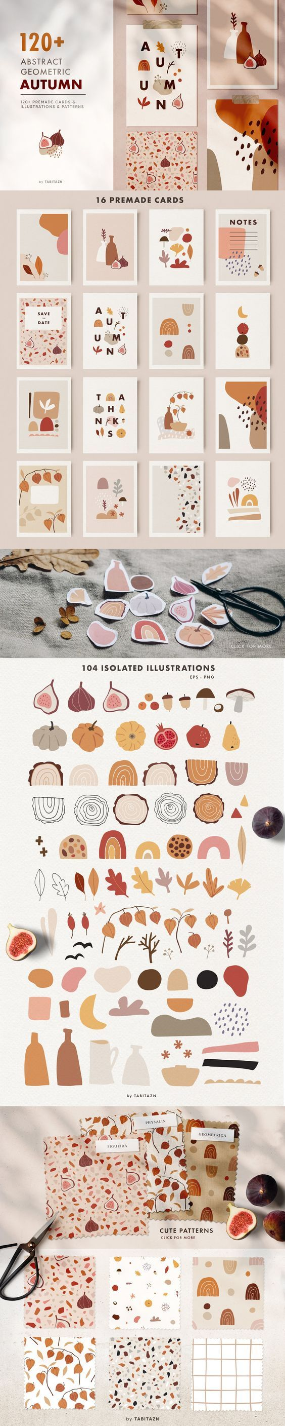 120 Abstract geometric autumn set , #illustrations #isolated#drawn#hand#seamless #art