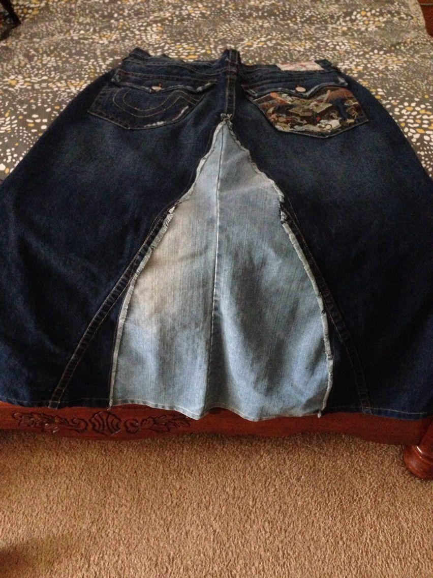 DIY 6/2015 jean pants into skirt