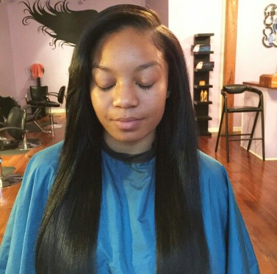 Deep Side Part Sew In Hair