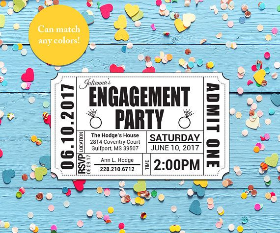Engagement Party Ticket Invitation (Printable) Fonts and Logos - ticket invitation template