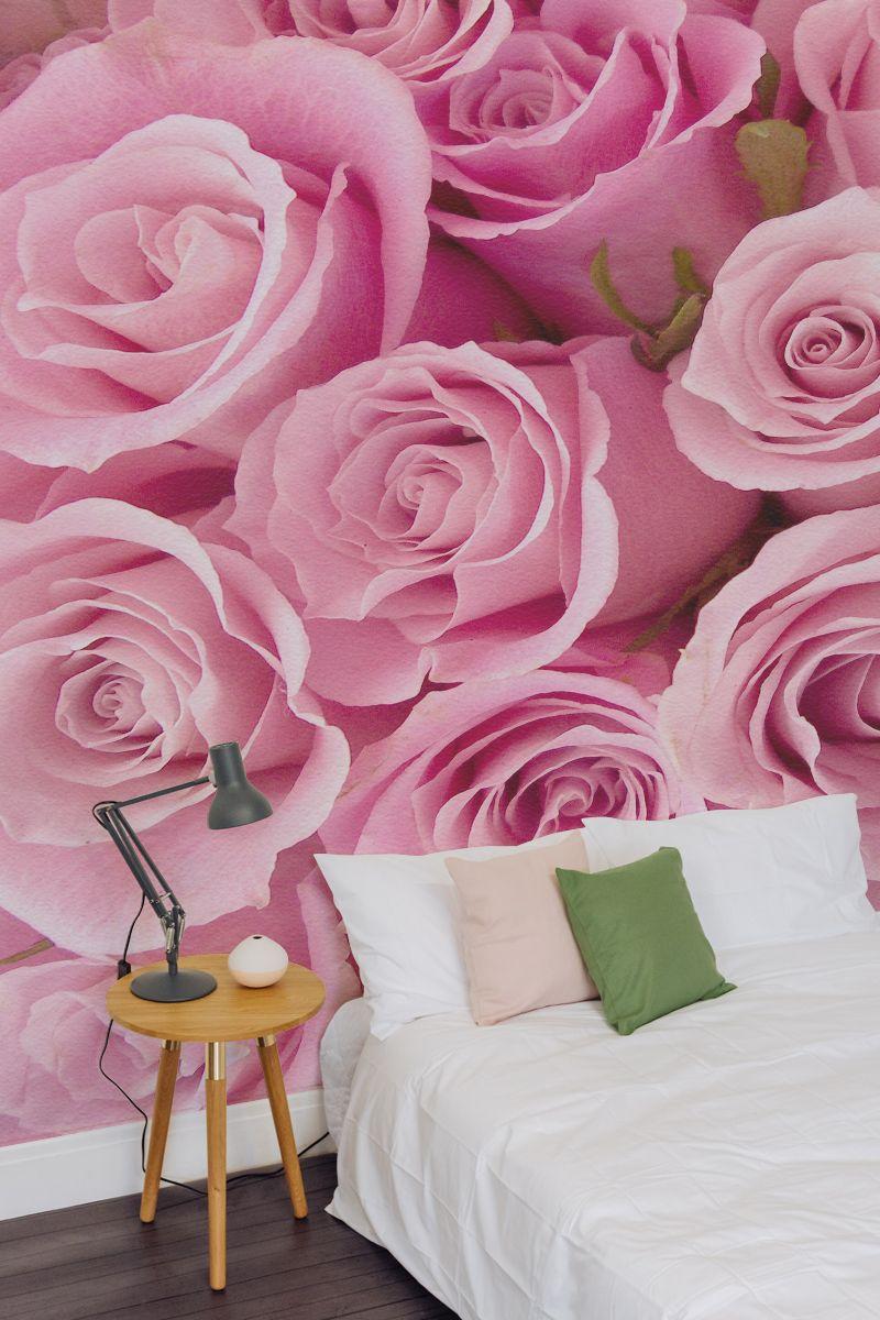 Pink Rose Pattern Mural Wallpaper Flower mural, Rose