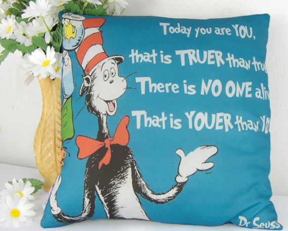 Dr Seuss Quote Pillow Youer Than You With The Cat In Hat Blue Nursery Schoolroom Book Decor Gift