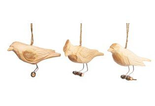 """S/4 4"""" Carved Wood Bird Ornaments 