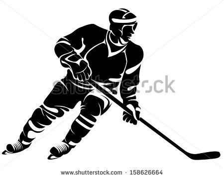 Hockey Player Silhouette Stock Vector Hockey Players Hockey Pictures Hockey Girls