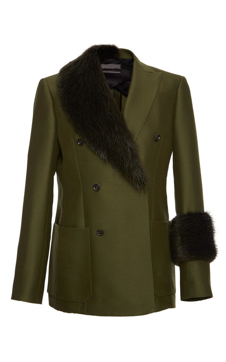 Green Tuxedo Jacket With Fur Trim by Bally for Preorder on Moda Operandi