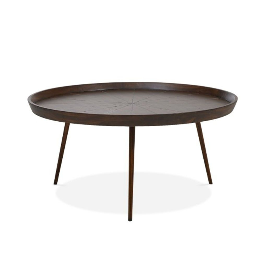 Aspen Large Round Coffee Table Solid Acacia Dark Brown With
