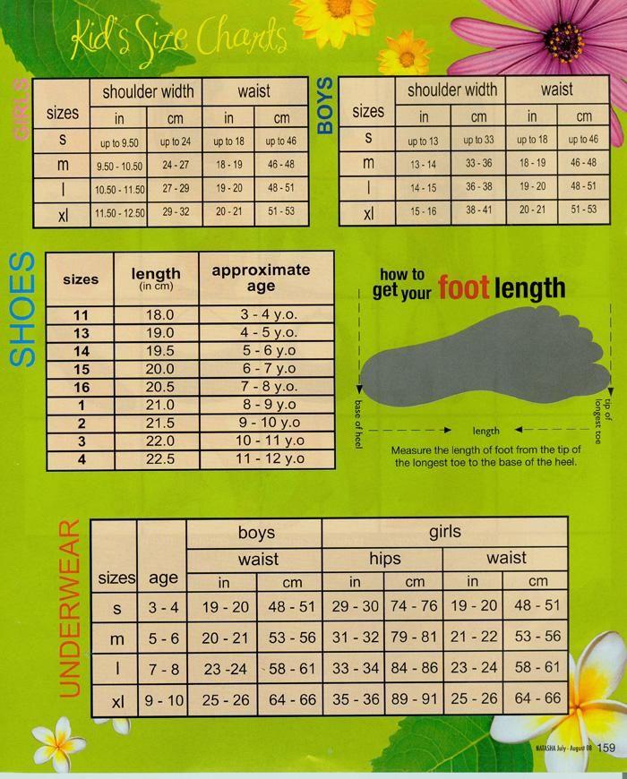 kids size chart | Size Chart - Kids : Natashamall.com - Buy Natasha Philippines Products ...
