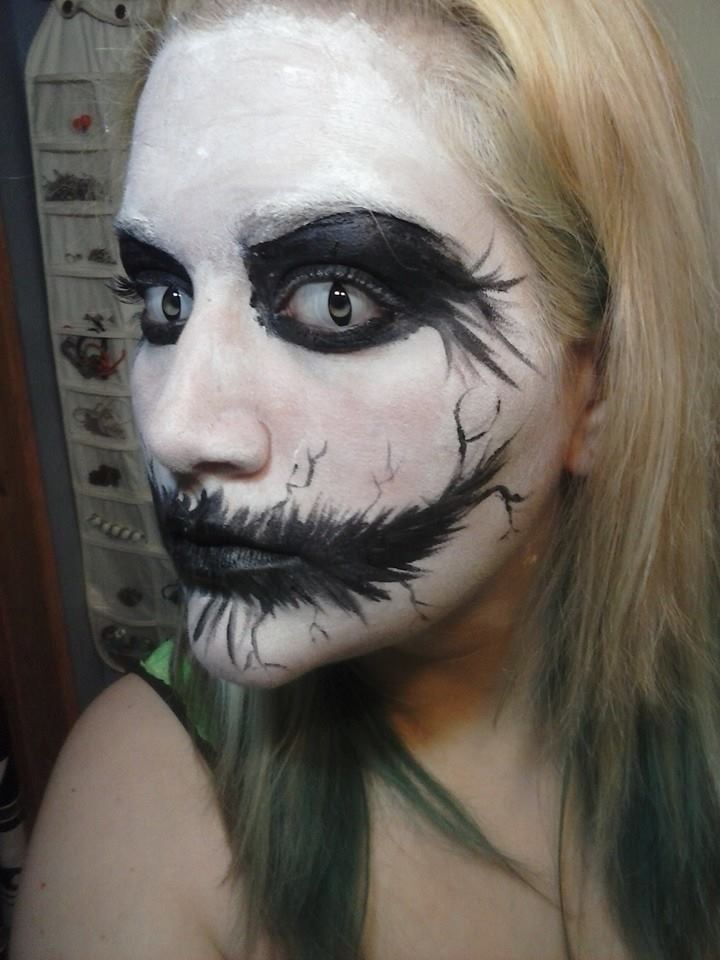 Creepy Black And White Face Paint Halloween Makeup White Black Homemade
