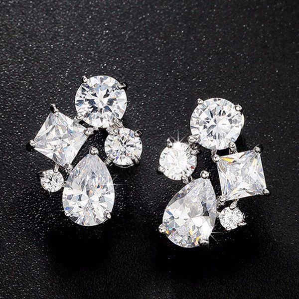 Enumu Silver Diamond Stud Earrings