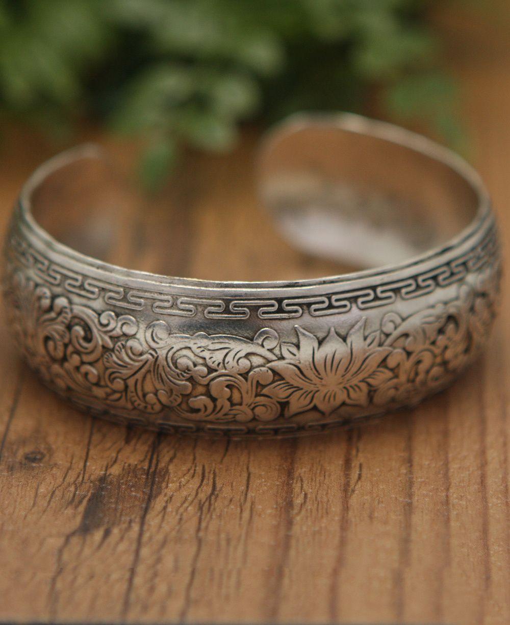 Detailed lotus cuff bracelet lotus bracelets and lotus flower detailed lotus cuff bracelet lotus jewelryflower izmirmasajfo Images