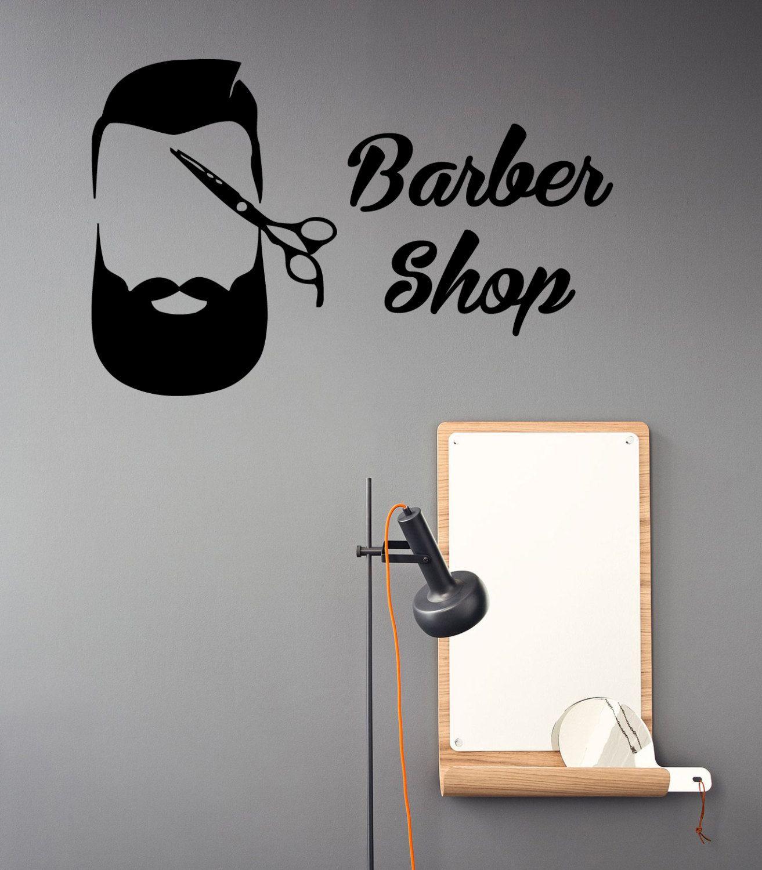 Barber shop wall decals scissors men hair stylist beard hairdressing salon design interior art vinyl decal sticker beauty salon decor kk844 by