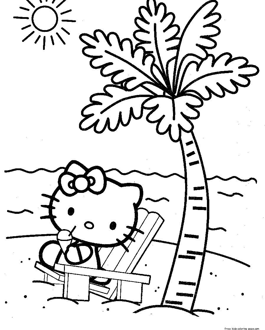 hello kitty at the beach coloring pages for kidsFree | Coloring ...