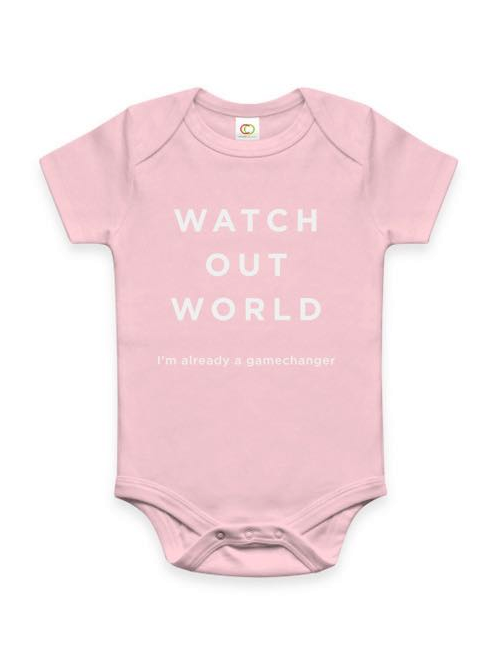 Watch Out World Cotton Onsie - Pink $29.00 USD  -Imprinted with: WATCH OUT WORLD, I'm already a gamechanger -100% organic cotton -Size: 0-3 mo. -Produced following fair trade principles -Artisan country: India