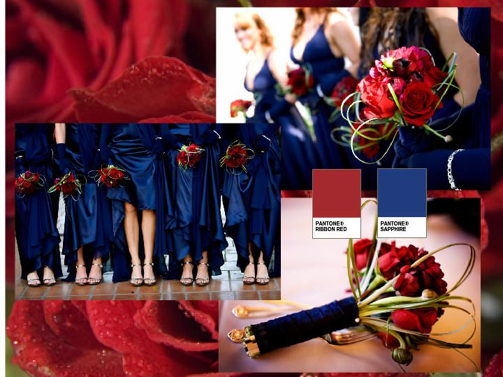 Red Ribbonssapphire Bridesmaids Pantone Wedding Styleboard The