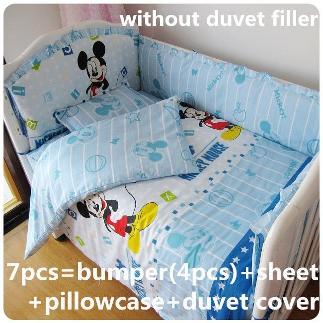 Discount! 6/7pcs Mickey Mouse low price Baby bedding set for baby ...