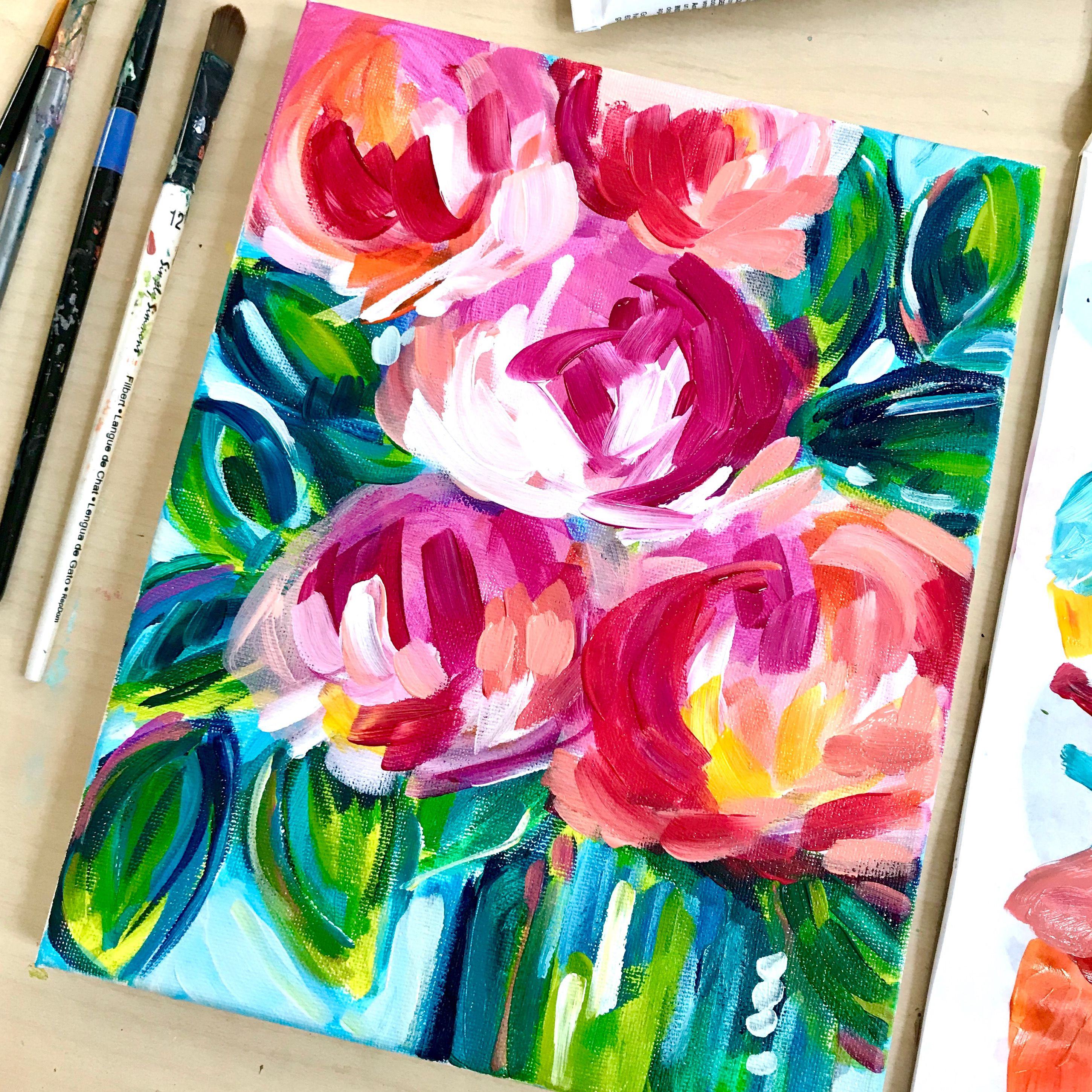 Lots Of Easy Abstract Flower Painting Ideas Abstract Flower Painting Easy Flower Painting Acrylic Painting For Beginners