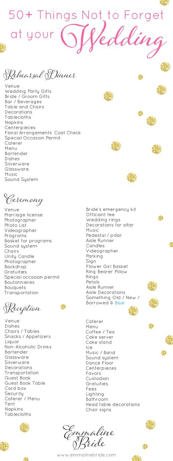 50 things not to forget at your wedding checklist wedding