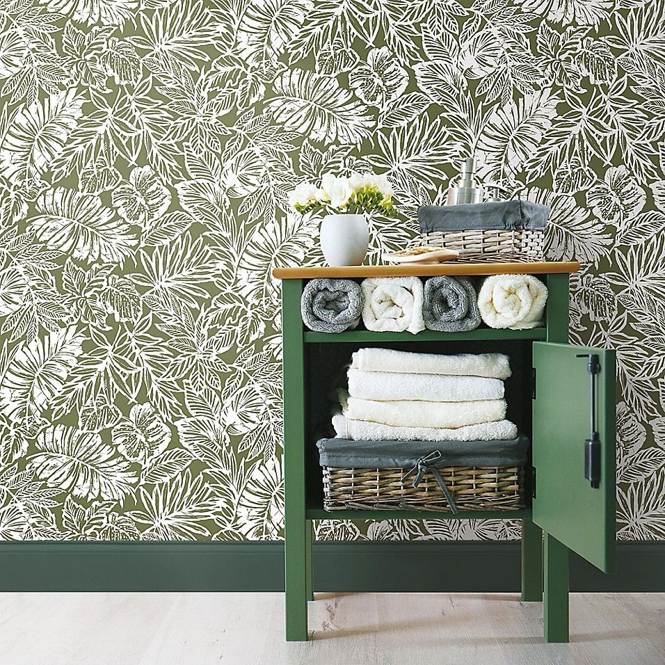 Roommates Batik Tropical Leaf Peel Stick Wallpaper Bed Bath And Beyond Canada Peel And Stick Wallpaper Home Decor Decor