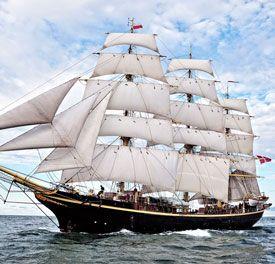 """""""Georg Stage"""".  Klasse: A. Land: Denmark. Havn: Copenhagen. Lengde: 51,70 m. Rigg: Ship. Byggeår: 1934"""