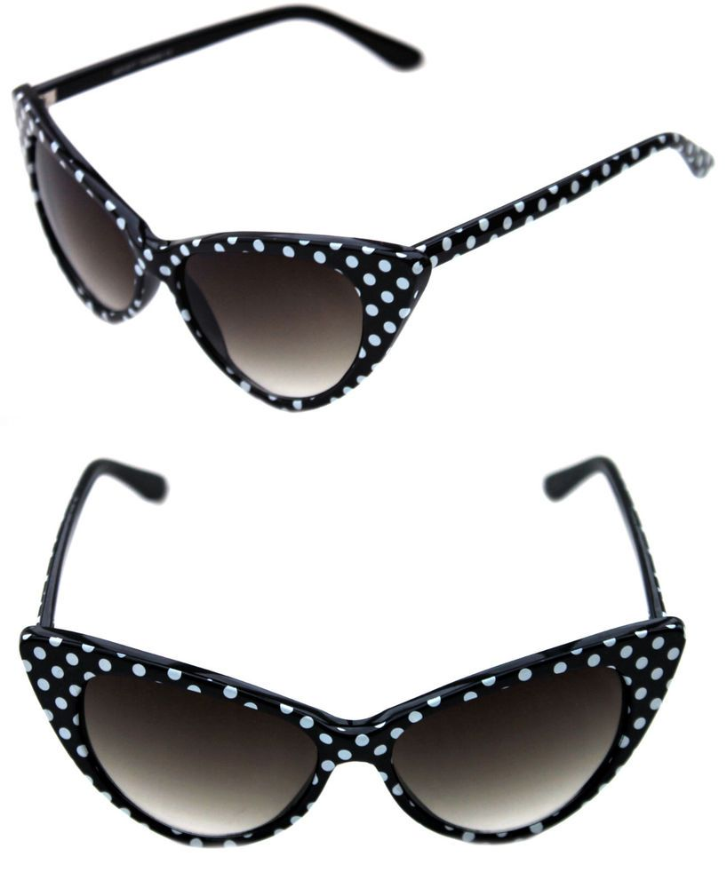 cbf050462af70 Women s Cat Eye Vintage Sunglasses Nikita Large Black with white Polka Dots  50 s  Unbranded  CatEye