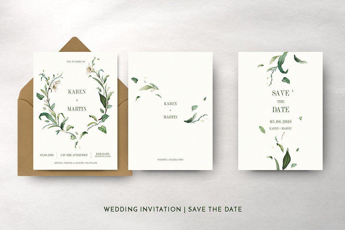 Green Foliage Wedding Suite Wedding Invitation Packages Wedding Invitations Elegant Wedding Invitations