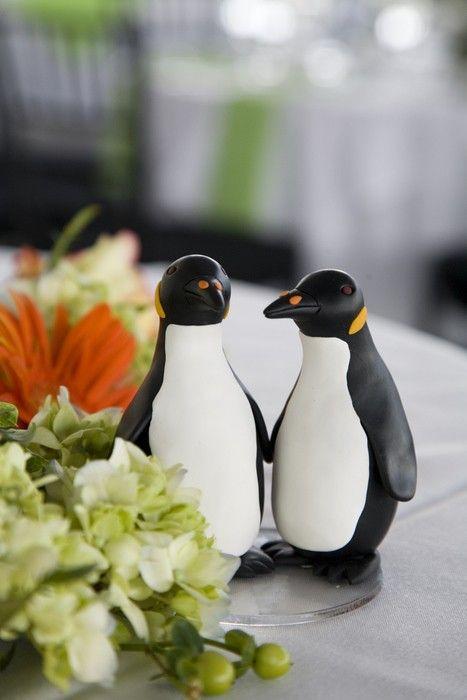 Penguins Wedding Cake Topper by BlueButterflyDesign on Etsy, $80.00