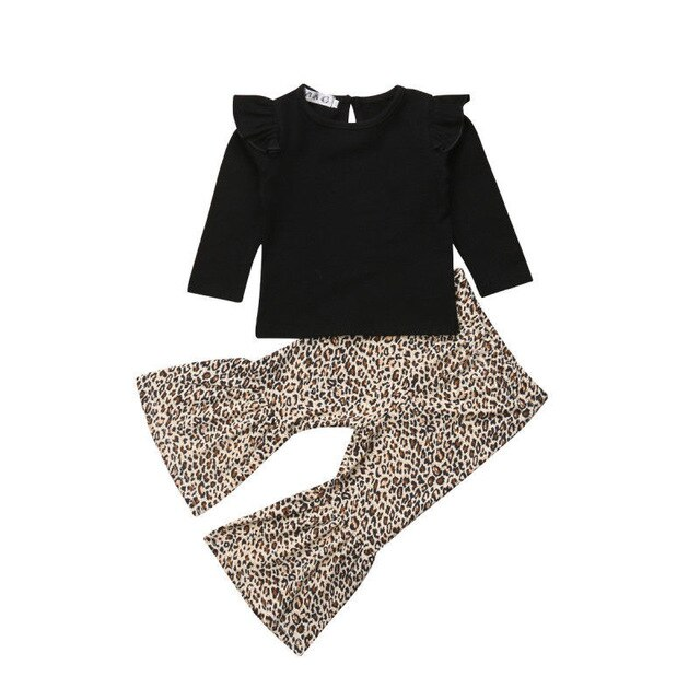 Toddler Kids Baby Girl Winter Clothes Leopard Print Tops Long Pants Outfits Set
