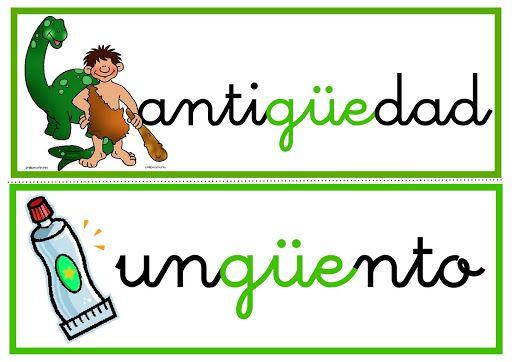 Ortografia Palabras Con Gue Gui Güe Y Güi Spanish Kids School Work Mario Characters