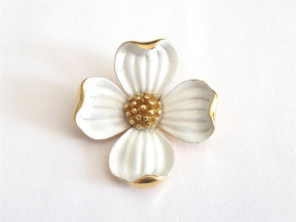 Vintage 60 s crown trifari gold tone white enamel dogwood flower ebay vintage 60 s crown trifari gold tone white enamel dogwood flower brooch mightylinksfo