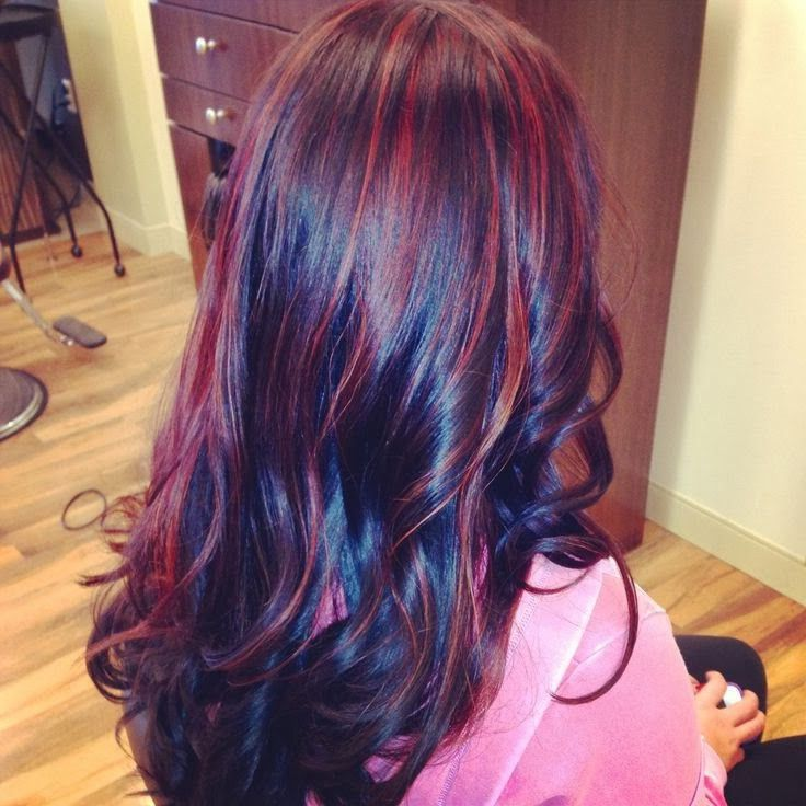 red and purple highlights in dark hair blackhairwith