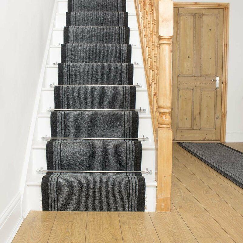 Abby Needlepunch Grey Stair Runner In 2020 Gray Stair Runner | Wayfair Stair Carpet Runners | Textured Carpet | Rosalind Wheeler | Staircase Makeover | Treads Carpet | Brown Beige
