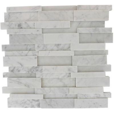 Splashback Tile Dimension 3d Brick White Carrera Stone 12 In X 12