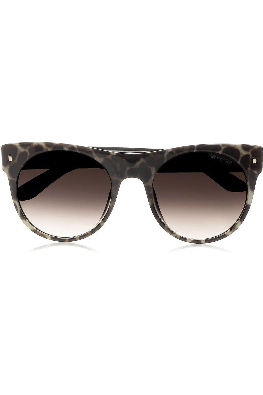Yves Saint Laurent | Panther-print acetate D-frame sunglasses | NET ...