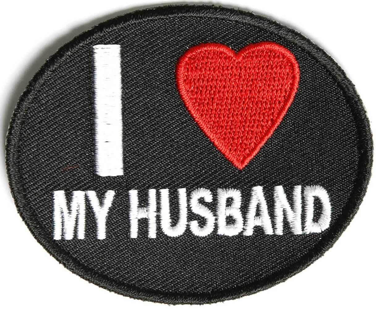 Embroidered I Love My Husband Sew or Iron on Patch Biker Patch
