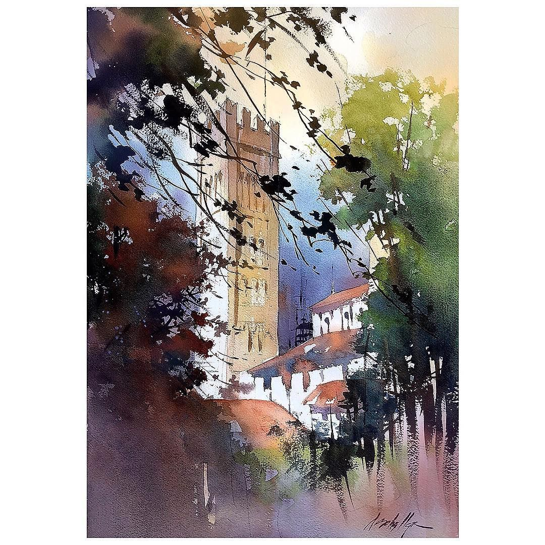 Cathedral Of San Martino Lucca Italy Watercolor Sketch