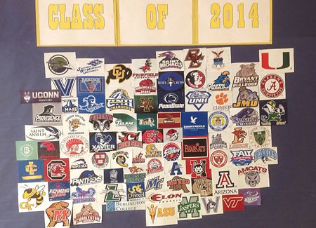 The Class of 2014 college acceptance bulletin board continues to