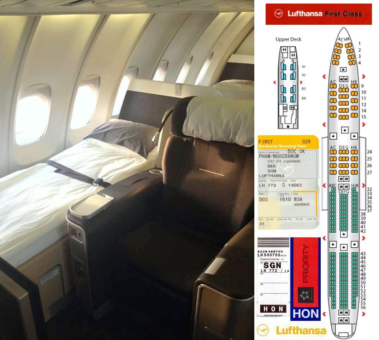 LUFTHANSA LH772 B747400 First Class New Seat