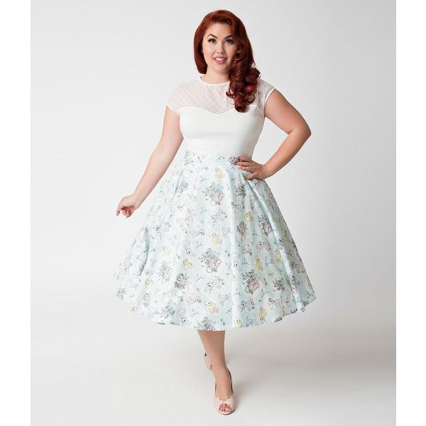 bbc7a1fe61 Hell Bunny Plus Size 1950s Style Light Mint   Springtime Swing Skirt (41  AUD) ❤ liked on Polyvore featuring plus size women s fashion
