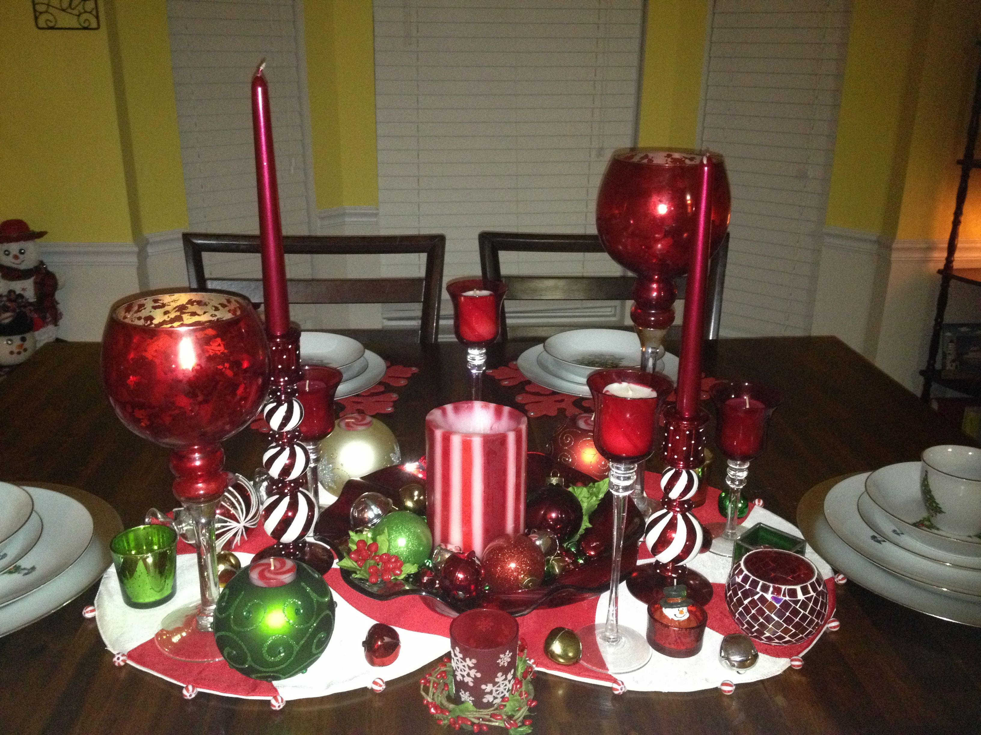 Candy cane theme table centerpiece lane