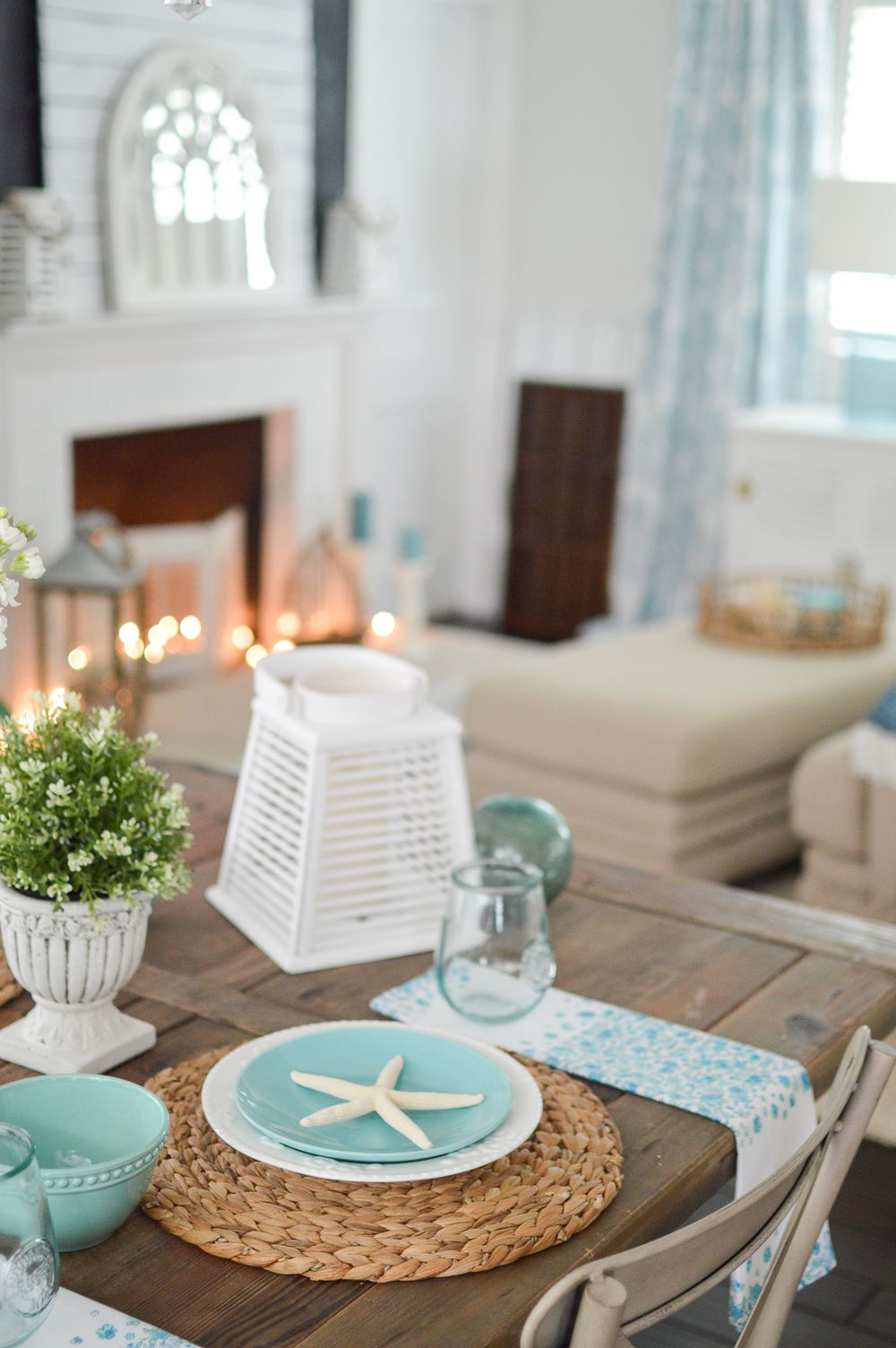 Simple Summer Decorating Ideas Farmhouse Table Centerpieces Table Decorations Coastal Cottage Bathroom