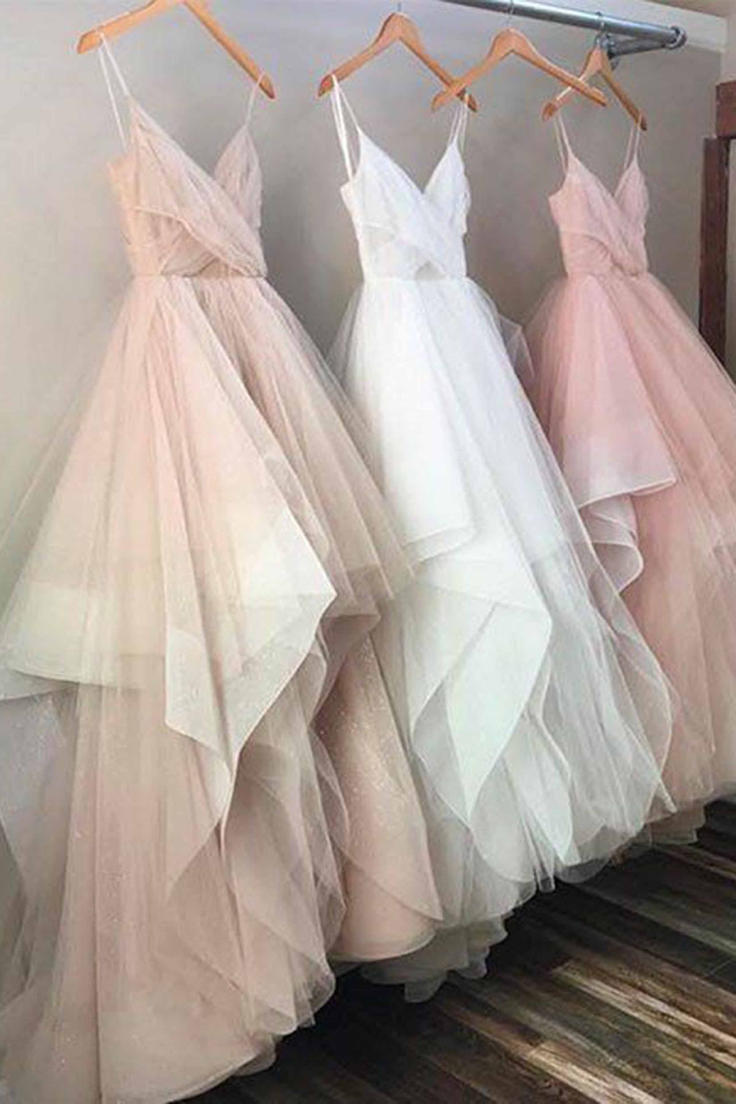 Tiered champagne tulle prom dress ball gown cute long dress with