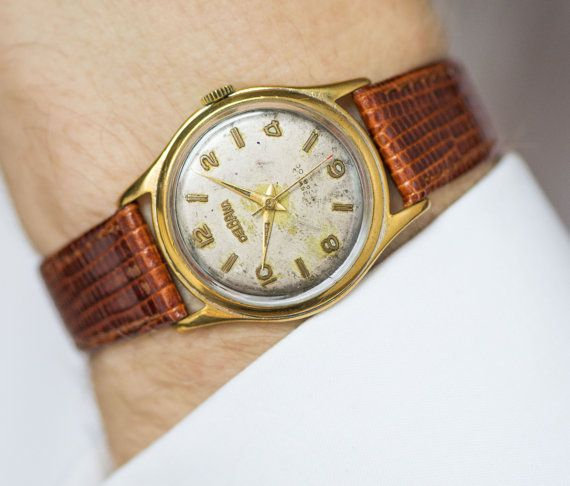 Gold plated men's watch Delbana mid century Swiss by SovietEra