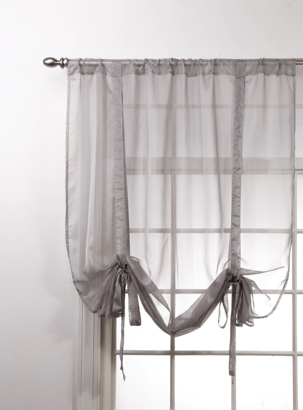 Curtain Bath Outlet Lucky Stripe Sheer Curtain Tie Up Sheer