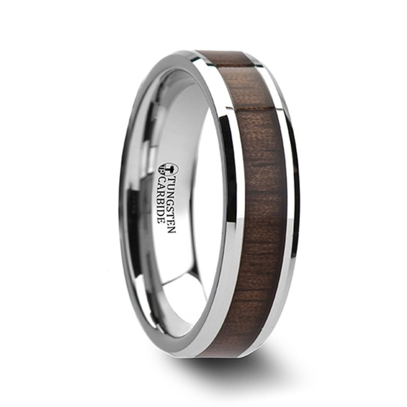 Newsman Tungsten Wedding Band Black Walnut Wood Inlay 6mm 10mm Black Tungsten Wedding Band Mens Wedding Rings Rings For Men