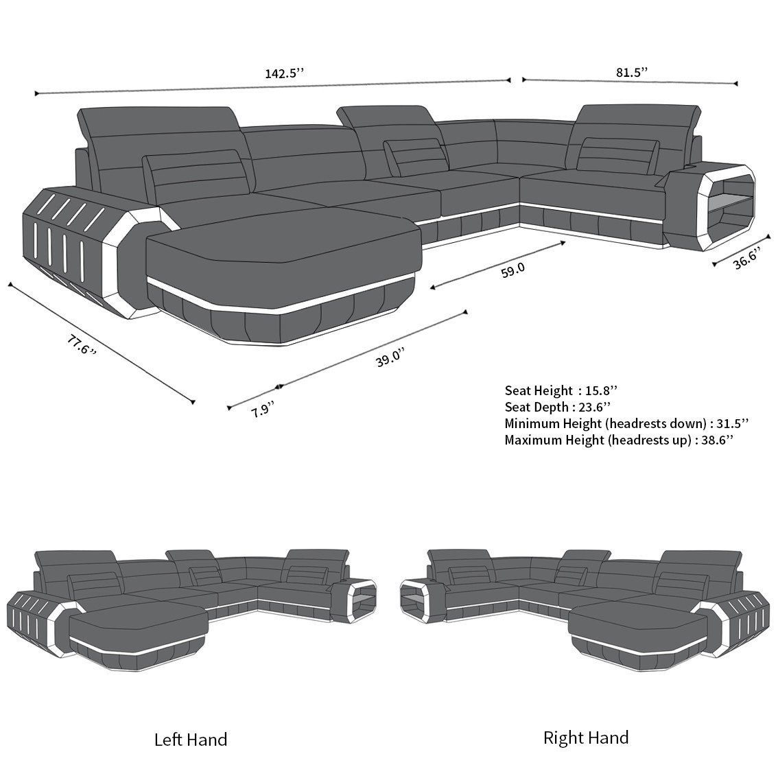 Leather Sectional Sofa Brooklyn U Shape #productiondesign