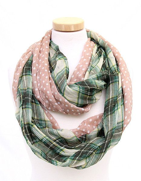 Plaid & Dot Infinity Scarf in Pink