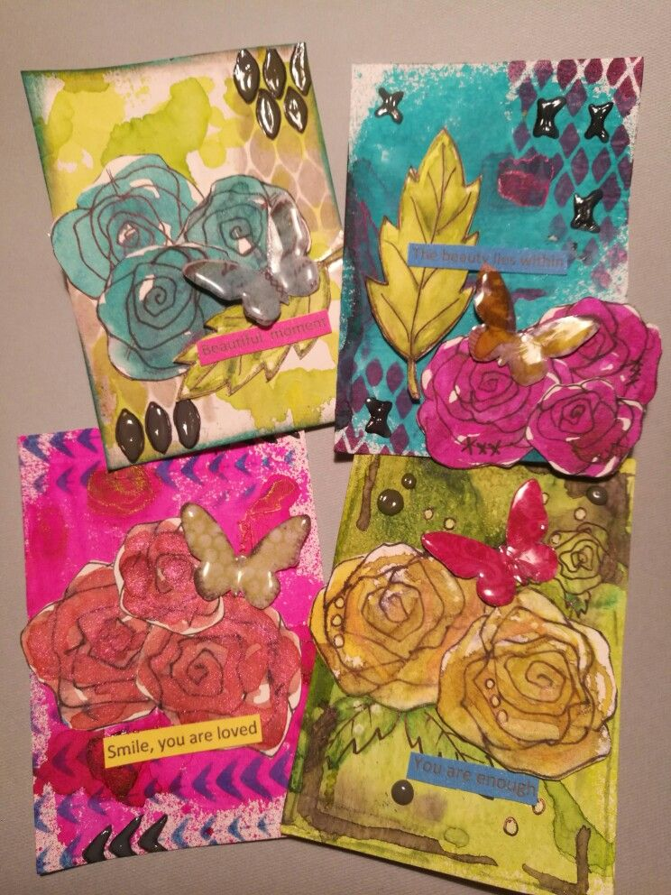 Atc with my own flowers mixed media artist trading